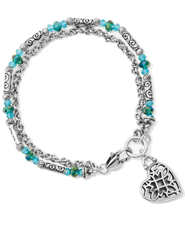 Brighton JF658C Gleam On Heartlight Bracelet turquoise beaded bracelet with a heart