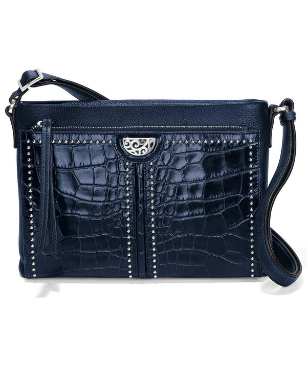 Brighton H4241Y Jagger Cross Body Organizer navy blue leather cross body purse