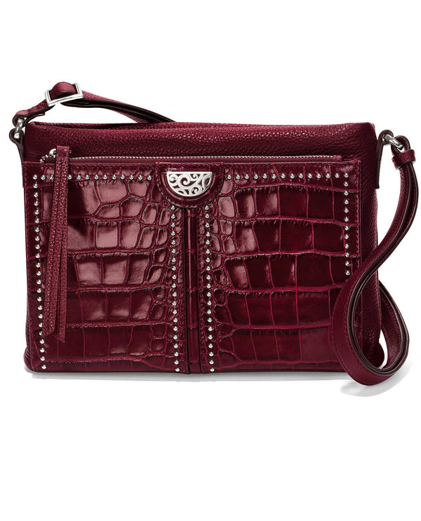Brighton H4241S Jagger Cross Body Organizer sangria leather cross body purse with built in wallet