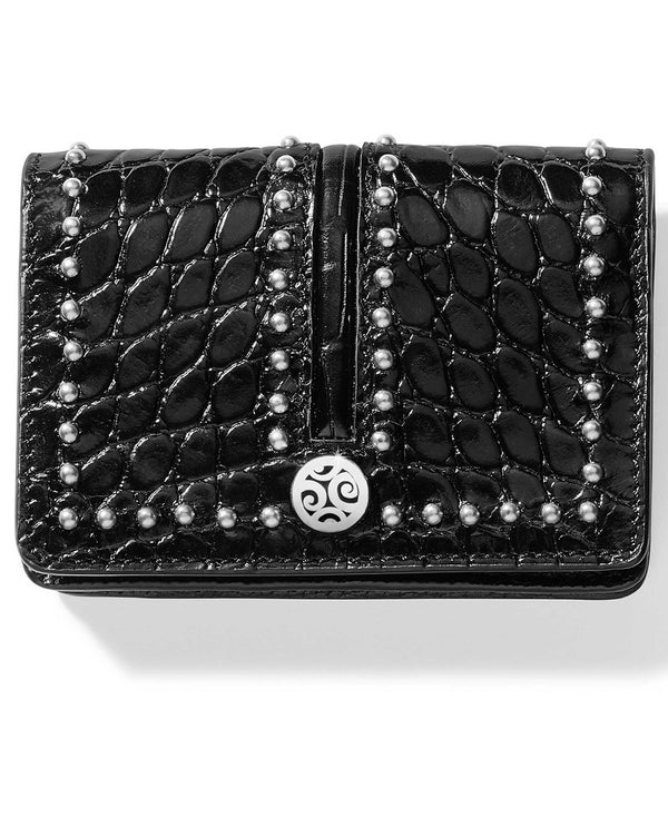 Brighton E31513 Pretty Tough Card Case Italian embossed black leather card case with studs