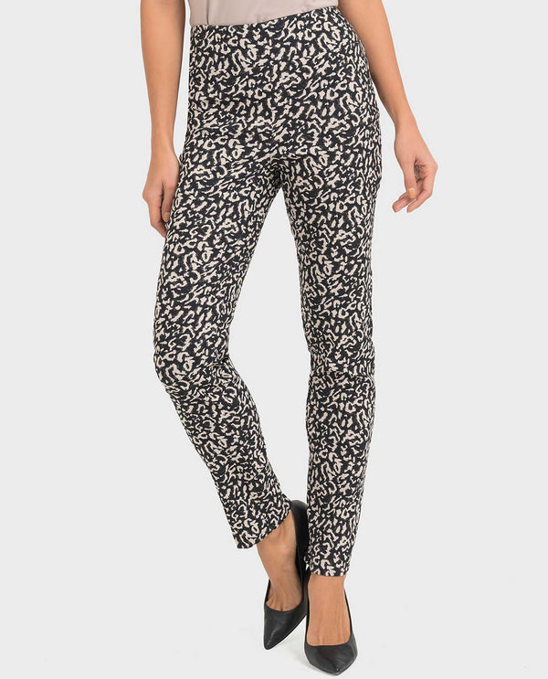 Joseph Ribkoff 193772 Mottled Look Slim Pants with sleek pull on waist