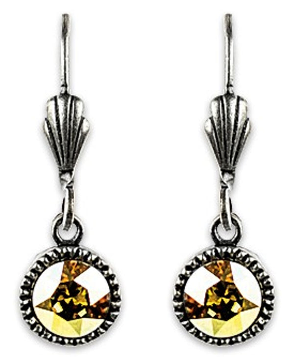 Anne Koplik ES03MSN Simple Drop Earrings with yellow Swarovski crystals made in the USA