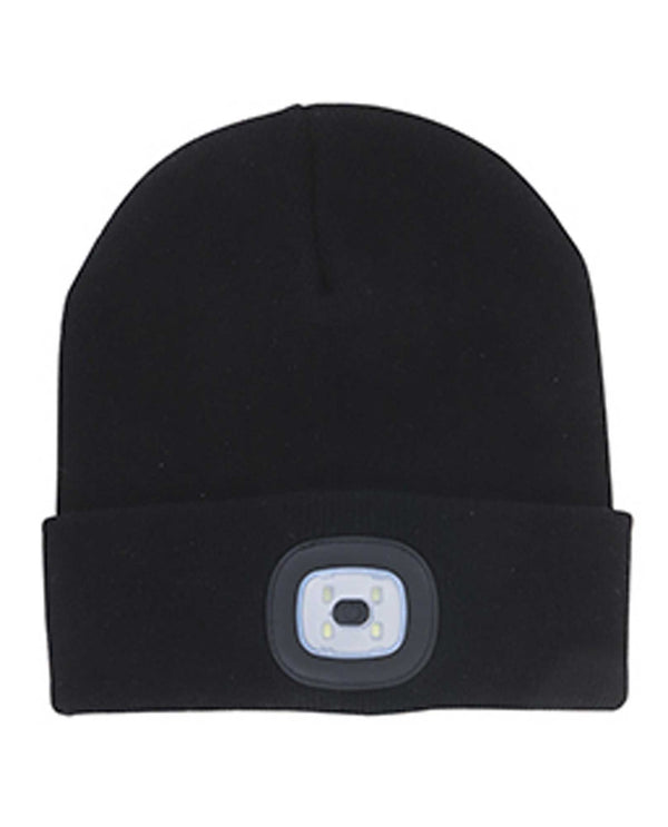 Black Rechargeable LED Beanie hat with removable LED light