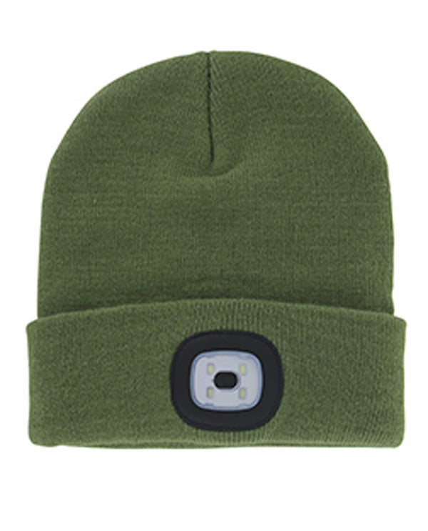 Olive green Rechargeable LED Beanie hat with removable LED light