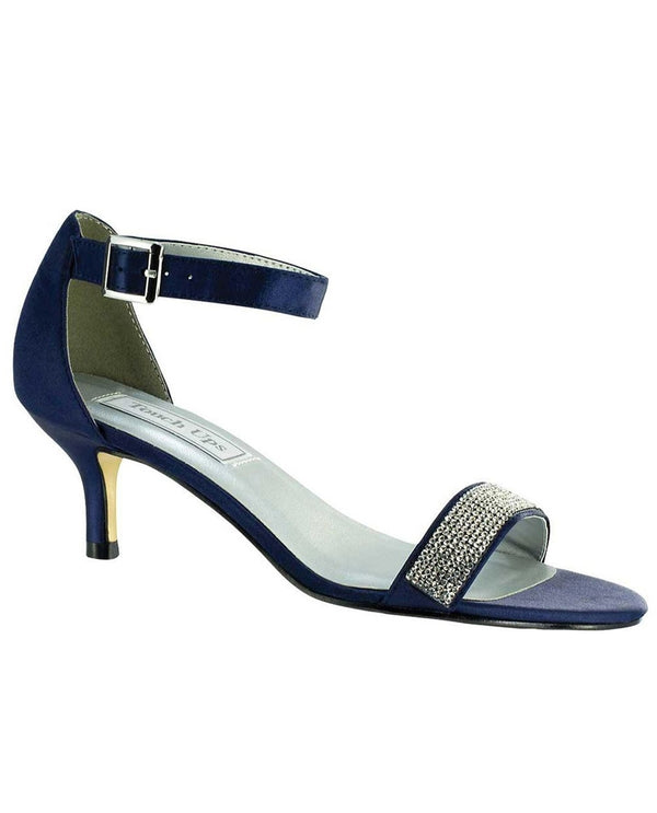 Touch Ups Isadora Satin Shoes navy strappy sandals with sparkles around the straps