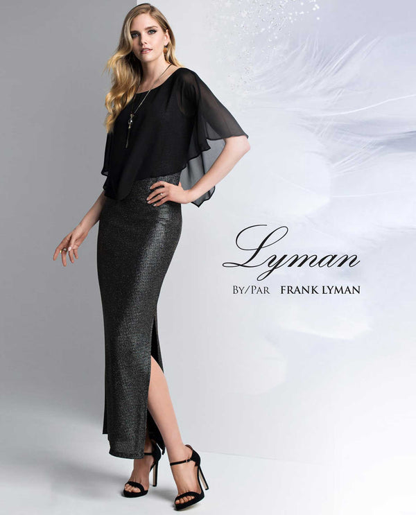Frank Lyman 199193 Long Lurex with Capelet Dress metallic black dress with chiffon overlay cape