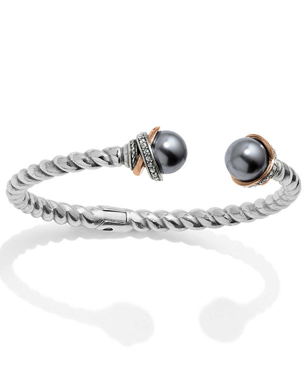 Brighton JF665E Neptune's Rings Gray Pearl Open Hinged Bangle bracelet