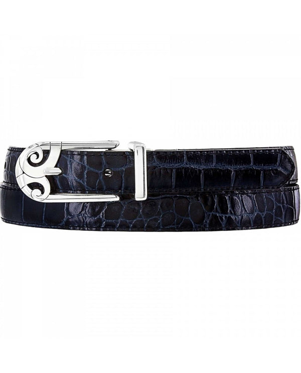 Brighton B40773 Mingle Sleek Reversible Belt black leather belt with croco Italian leather