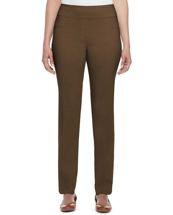Ruby Rd 70308 Pull On Solar Tech Pant chocolate brown pull on pants