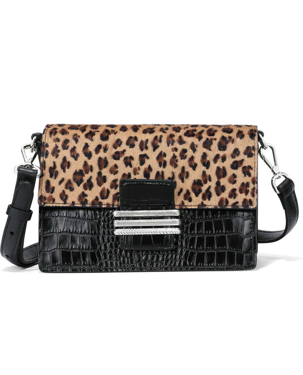 Brighton H37053 Leon Medium Cross Body black leather cross body bag with leopard