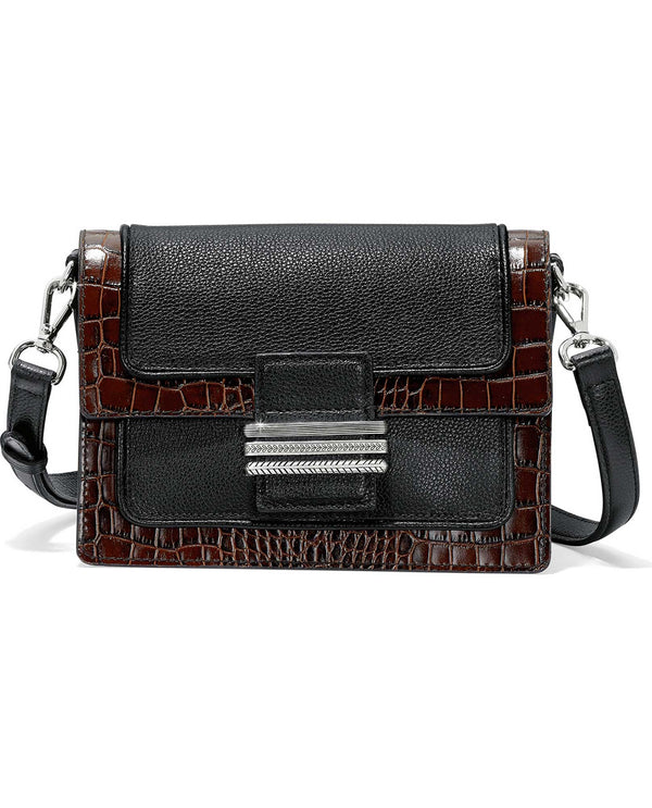 Brighton H37059 Leon Medium Cross Body black leather crossbody handbag