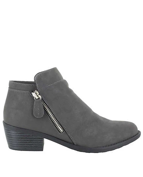 Easy Street 31-0864 Gusto Double Zip Lo Boot grey booties with side zippers