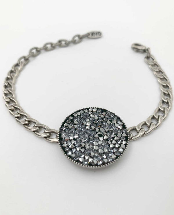 Crystal Rocks Bracelet BY RACHEL MARIE DESIGNS chrome