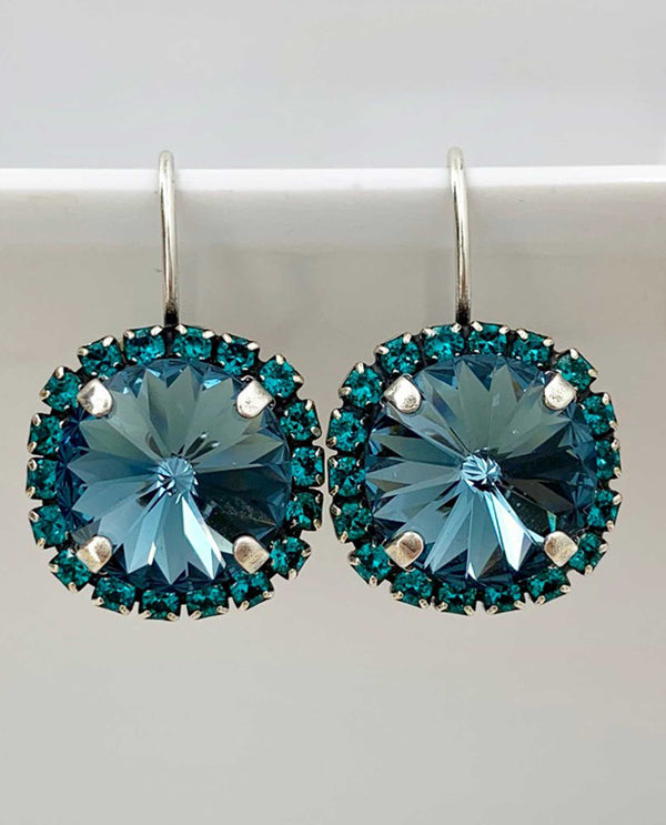 Vickie Blue Zircon Halo Earring BY RACHEL MARIE DESIGNS