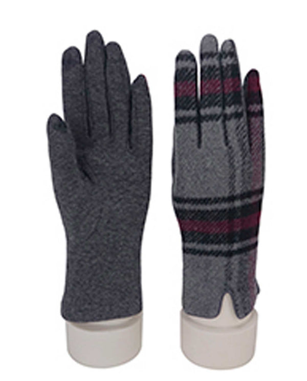 69317 Grey Plaid Texting Gloves
