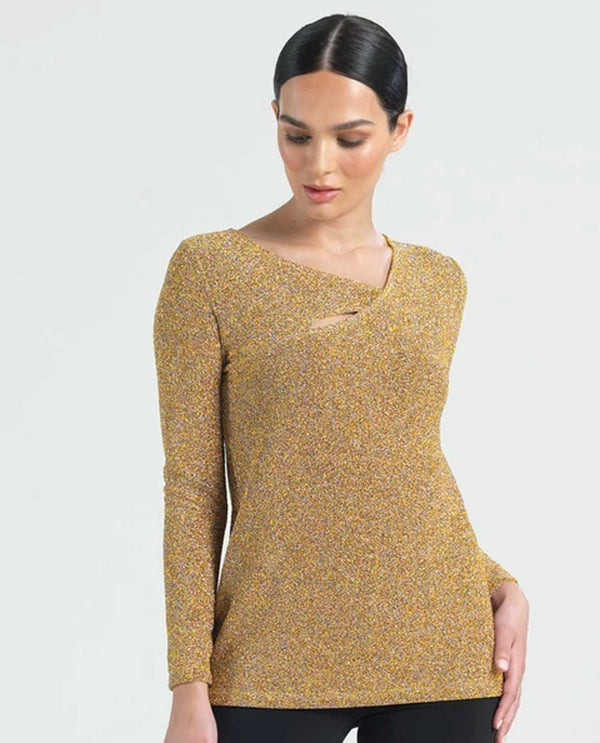 Clara Sunwoo T81S Angle Neck Shirt Shimmer shiny gold long sleeve top