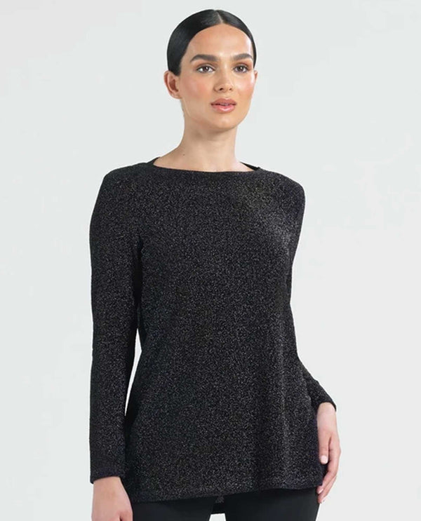 Clara Sunwoo TU41S Shimmer Tunic sparkly black long sleeve tunic with keyhole