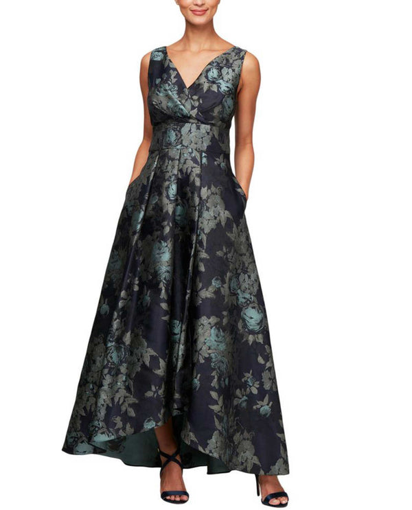 Alex Evenings 8181128 Print Gown strapless dark blue gown with floral print