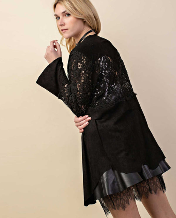 Vocal IM1088J Suede & Lace with Embroidery Black