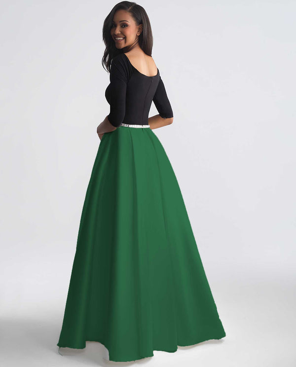 Madison James 18-806 Classic Ballgown black and emerald green ball gown with rhinestone belt