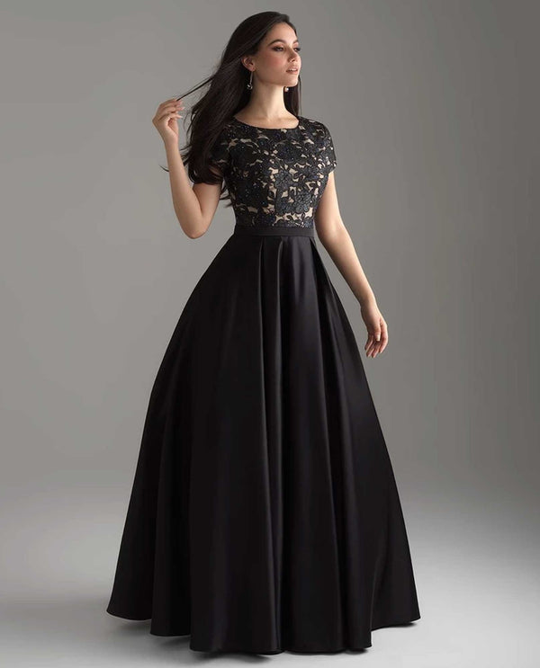 Madison James 18-804M Lace Top Ballgown black lace ball gown with cap sleeves