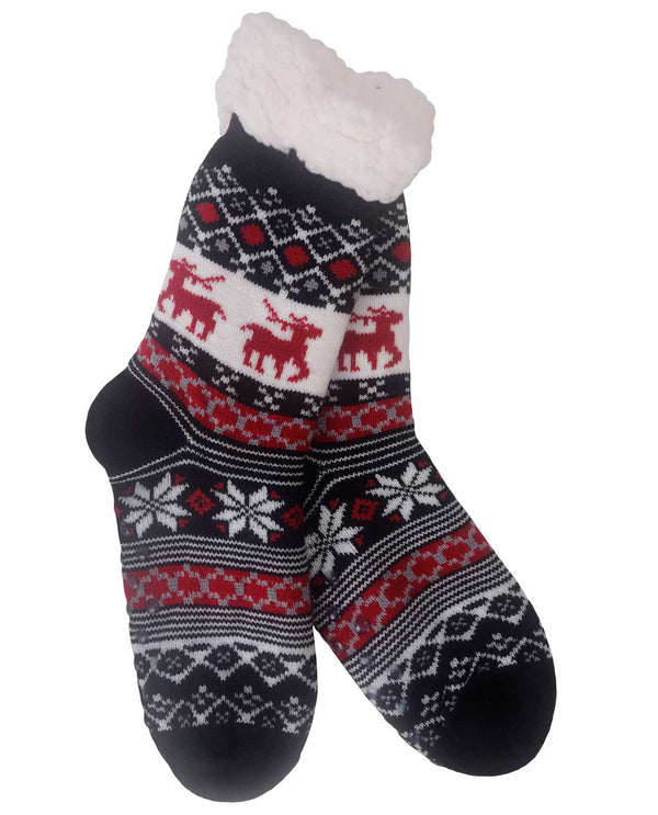 69269 Snowflake Slipper Socks Red
