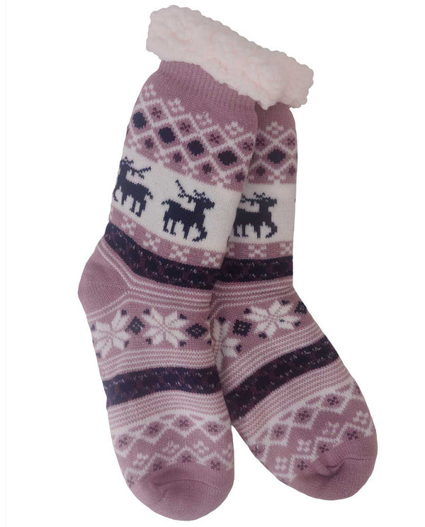 69269 Snowflake Slipper Socks Mauve