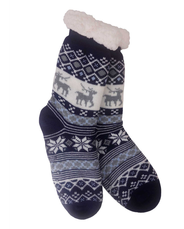 69269 Snowflake Slipper Sock Navy