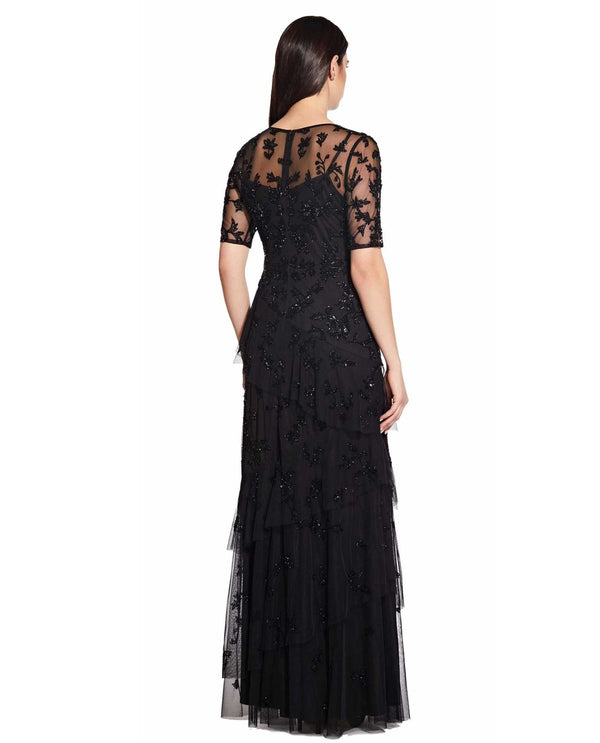 Adriana Papell AP1E205400 Tiered Elbow Sleeve Gown black short sleeve evening gown