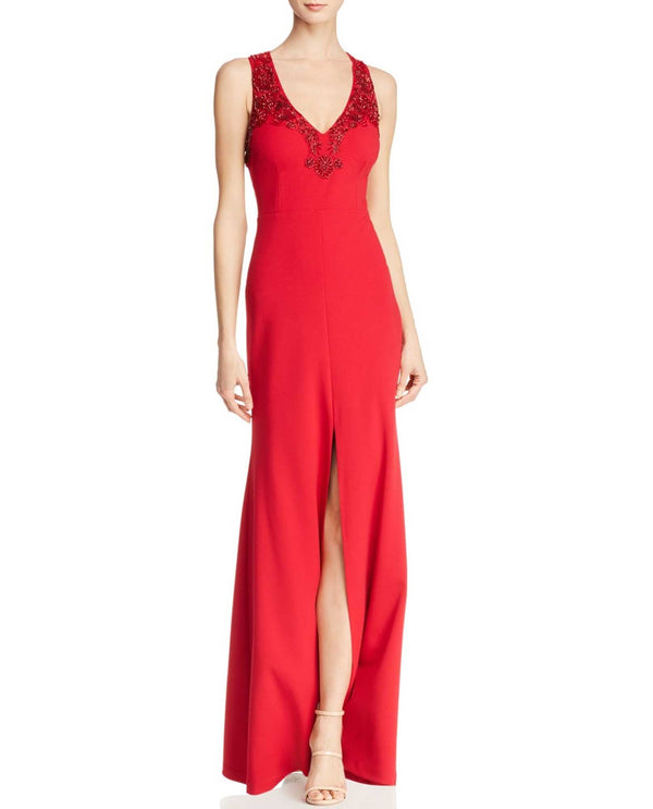 Aidan Mattox MD1E202834 Keyhole Beaded Gown halter red evening gown with open back