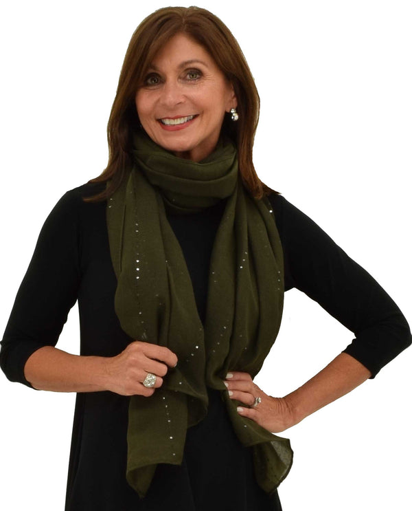 9108 Sequin Trim Oblong Scarf olive