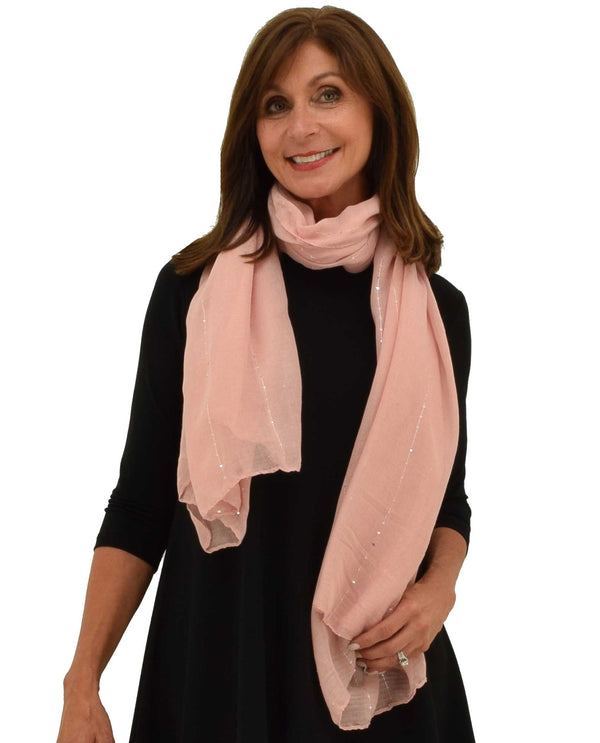 9108 Sequin Trim Oblong Scarf pink