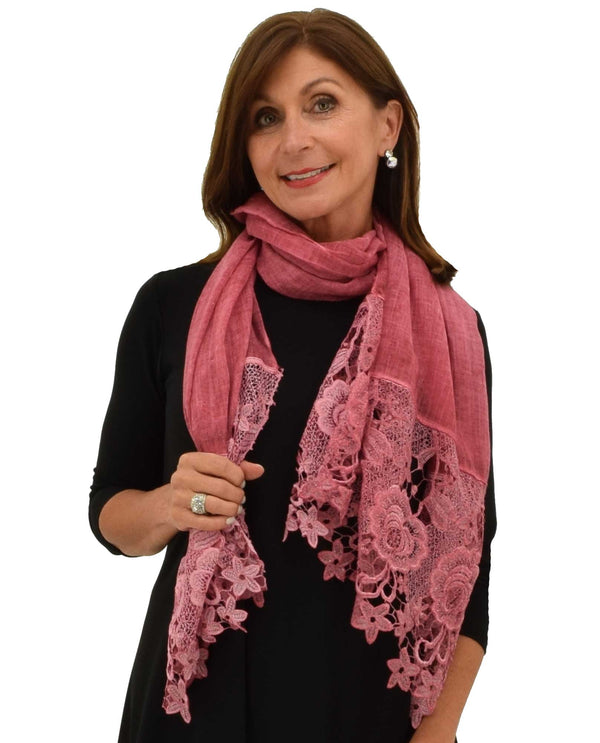 LCTRM Lace Trim Scarf burgundy