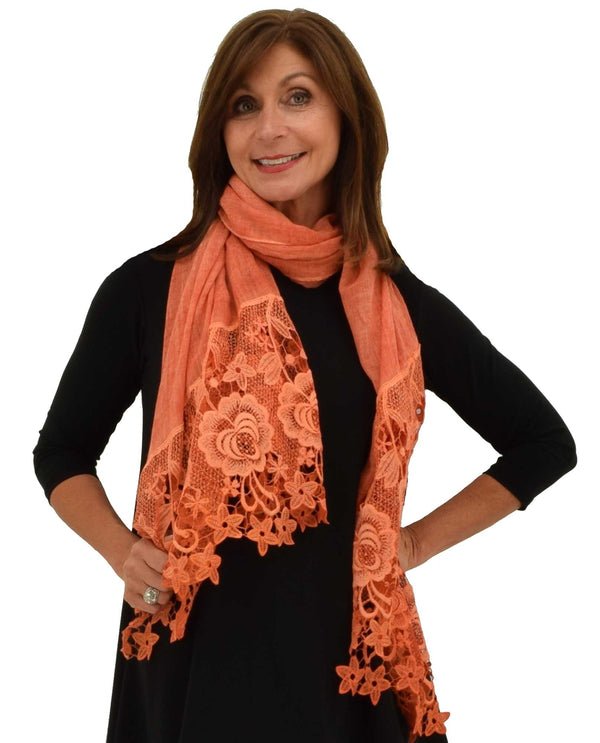 LCTRM Lace Trim Scarf orange