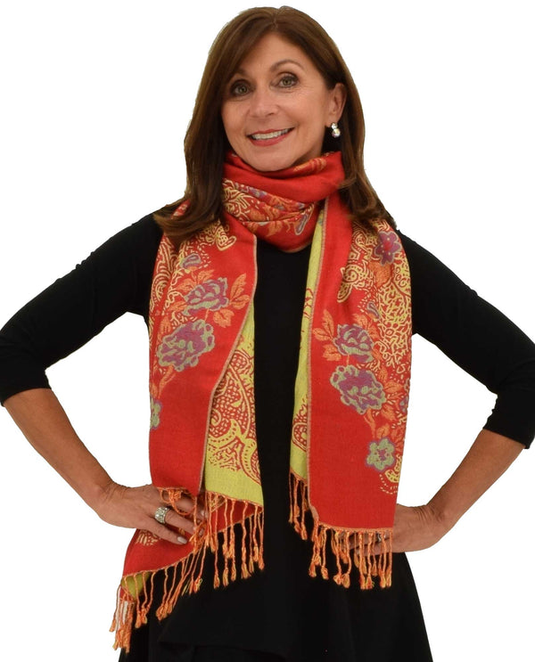 1628 Reversible Border Pashmina Scarf red