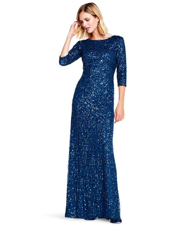 Adrianna Papell 091919970 3/4 Sleeve Crunchy Beaded Dress Dark Blue
