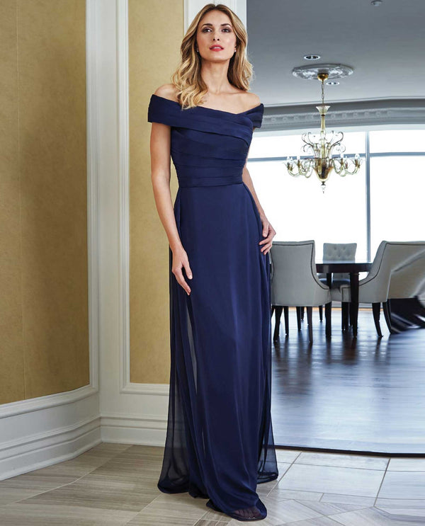 Jade Jasmine J215052 Portrait Neckline Dress navy off the shoulder evening dress