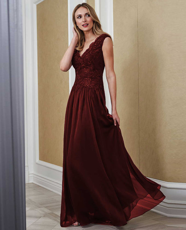 Jade Jasmine J215064 Lace Bodice V-Neck Gown Cranberry evening gown