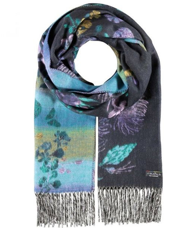 Fraas 625421 Floral Scarf Purple