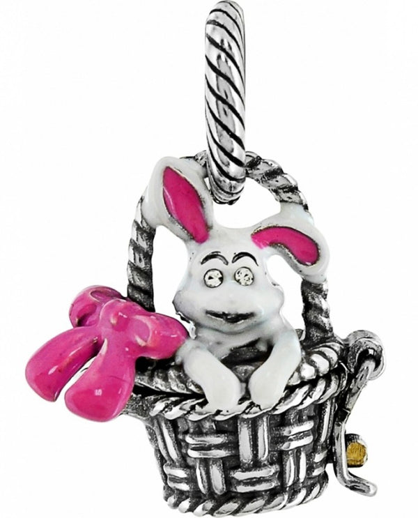 Silver Brighton JC0563 Bunny Basket Charm has a floppy eared bunny in an easter basket