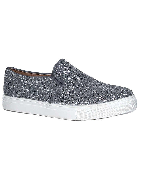 H2K Shoes FOURSEASON Glitter Tennis Shoe Pewter