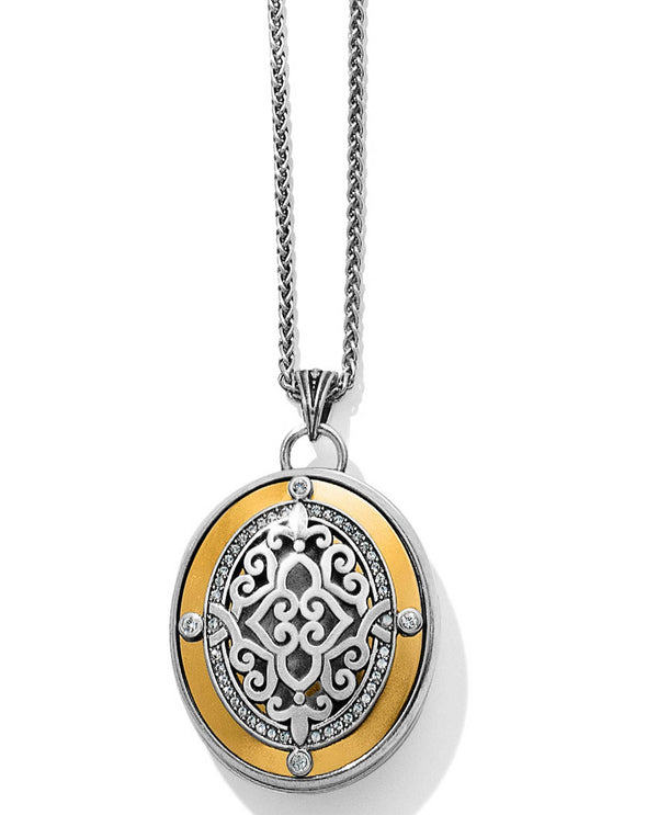 Brighton JM1762 Intrigue Convertible Locket Necklace silver oval necklace