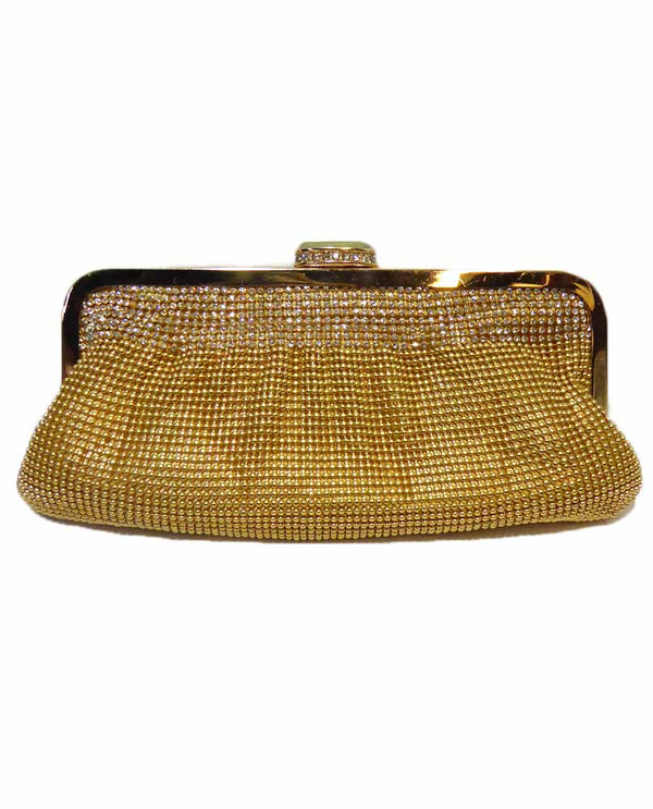 Gold Mesh Evening Bag With Crystals