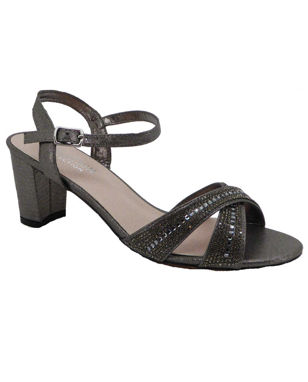 De Blossom Collection OLIE-23 Pewter Shimmer Dress Low Heels