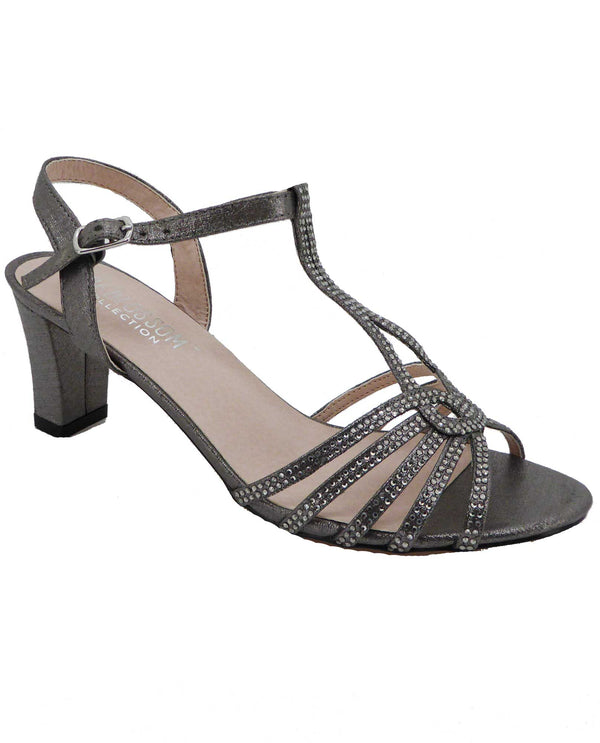 De Blossom Collection CARLA-25 Pewter  Shimmer Sandal Low Heels