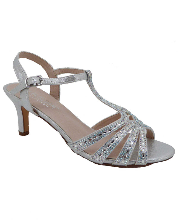 De Blossom Collection VALERIE-23 Silver Shimmer Dress Low Heels