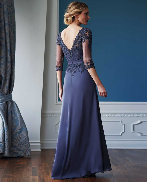 Jade Jasmine K218056 Beaded Lace Bodice Dress iron chiffon satin evening gown with 3/4 sleeves