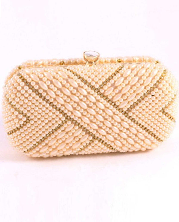 Champagne Pearl and Rhinestone Clutch