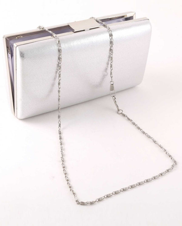 Silver Pleated Shimmer Clutch
