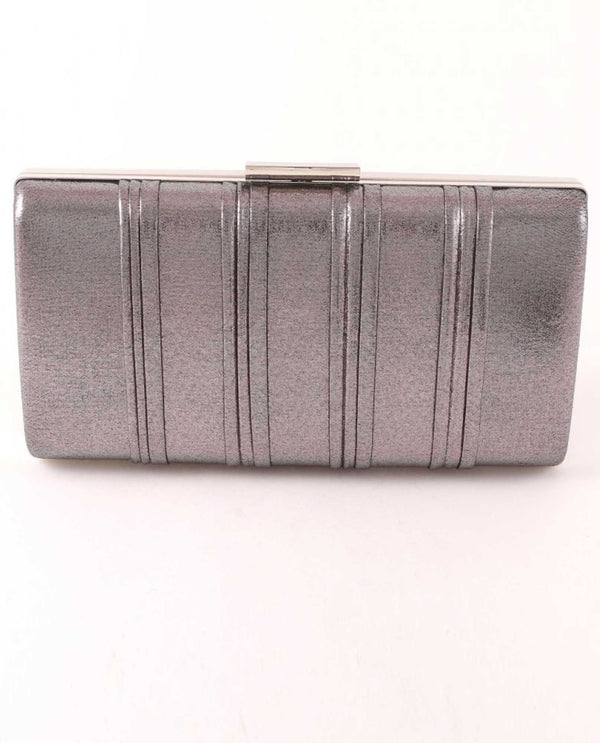 Grey Pleated Shimmer Clutch